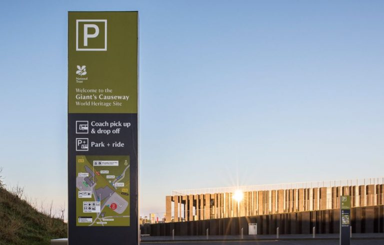 Giants-Causeway-Official-Guide-Visitors-Centre-Signage-Jill-Tate-Sign-in-car-par